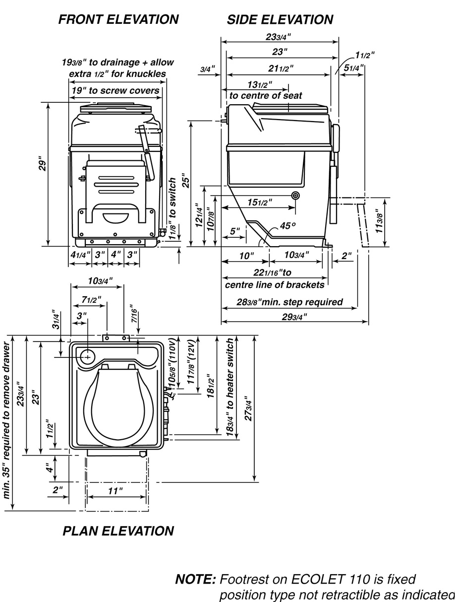 toilet rough in dimensions. Rough In for Compact Dimensions Self Contained Composting Toilets